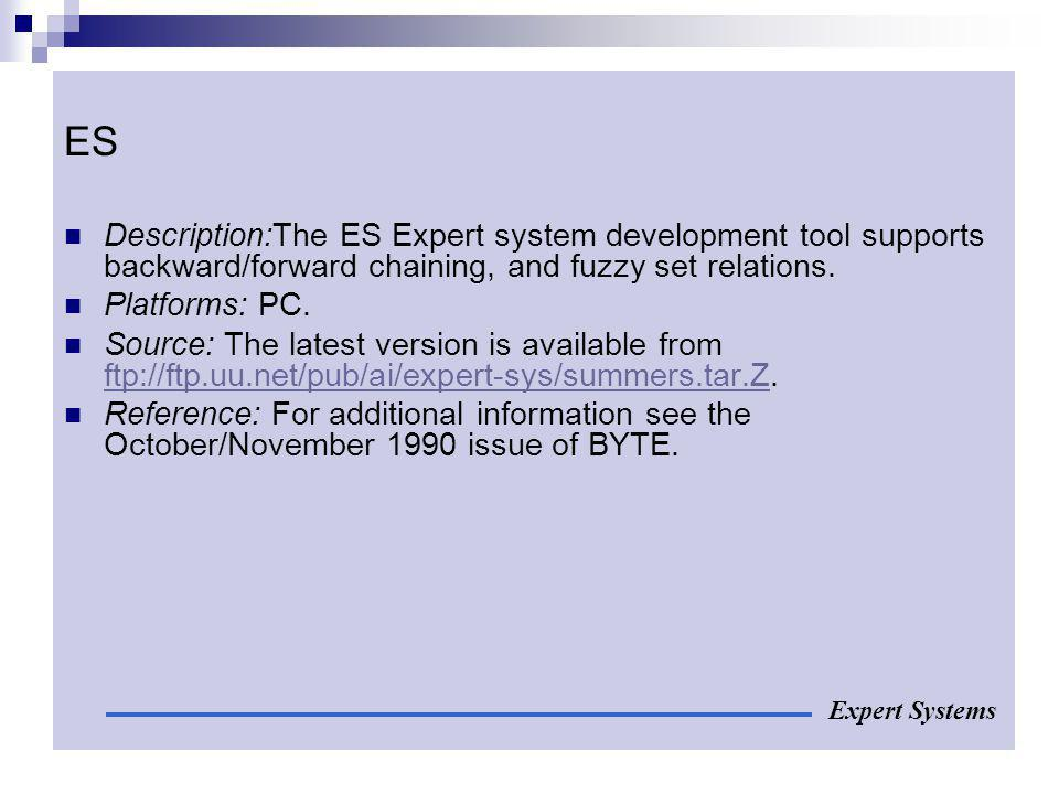 ES Description:The ES Expert system development tool supports backward/forward chaining, and fuzzy set relations.