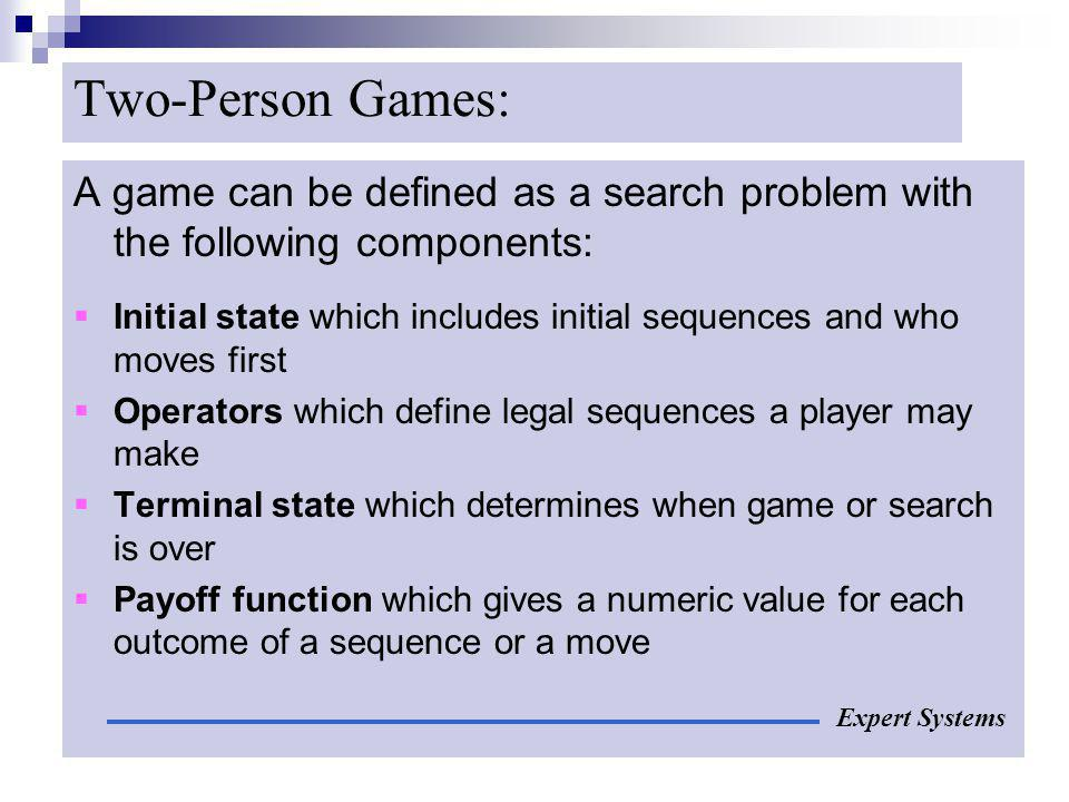 Two-Person Games: A game can be defined as a search problem with the following components: