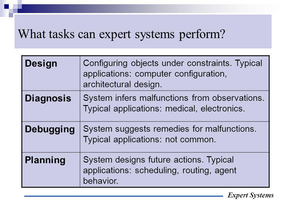 What tasks can expert systems perform