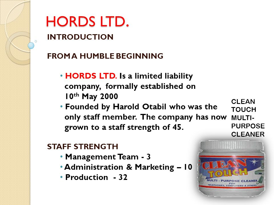 HORDS LTD. HORDS LTD. Is a limited liability