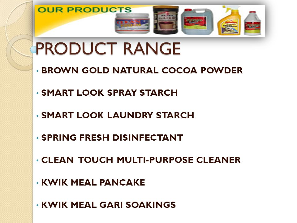 PRODUCT RANGE BROWN GOLD NATURAL COCOA POWDER SMART LOOK SPRAY STARCH