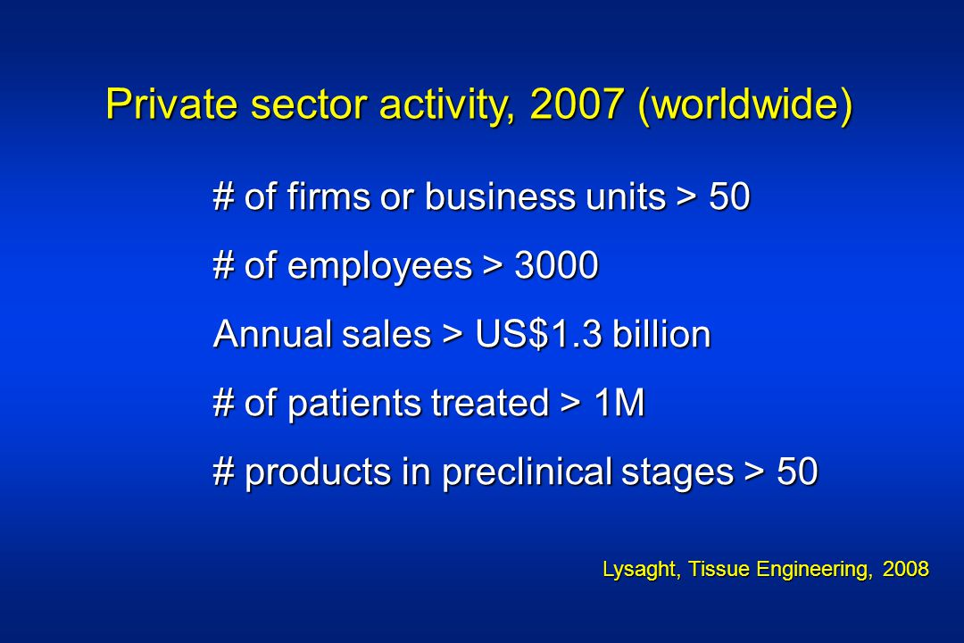 Private sector activity, 2007 (worldwide)