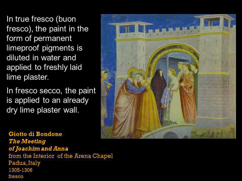 In true fresco (buon fresco), the paint in the form of permanent limeproof pigments is diluted in water and applied to freshly laid lime plaster.