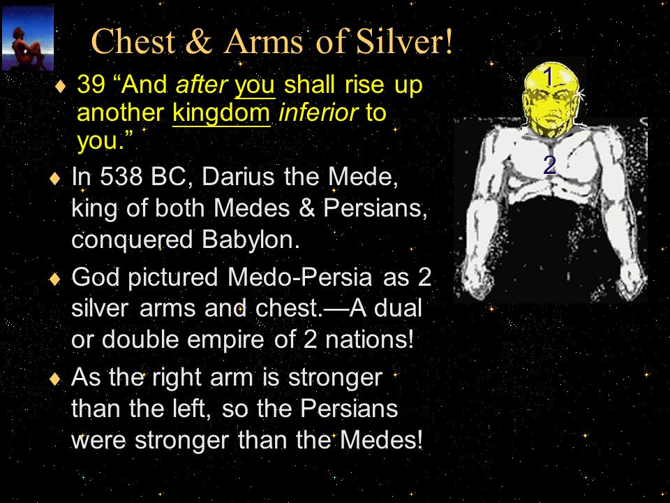 Chest & Arms of Silver! 1. 39 And after you shall rise up another kingdom inferior to you. 2.