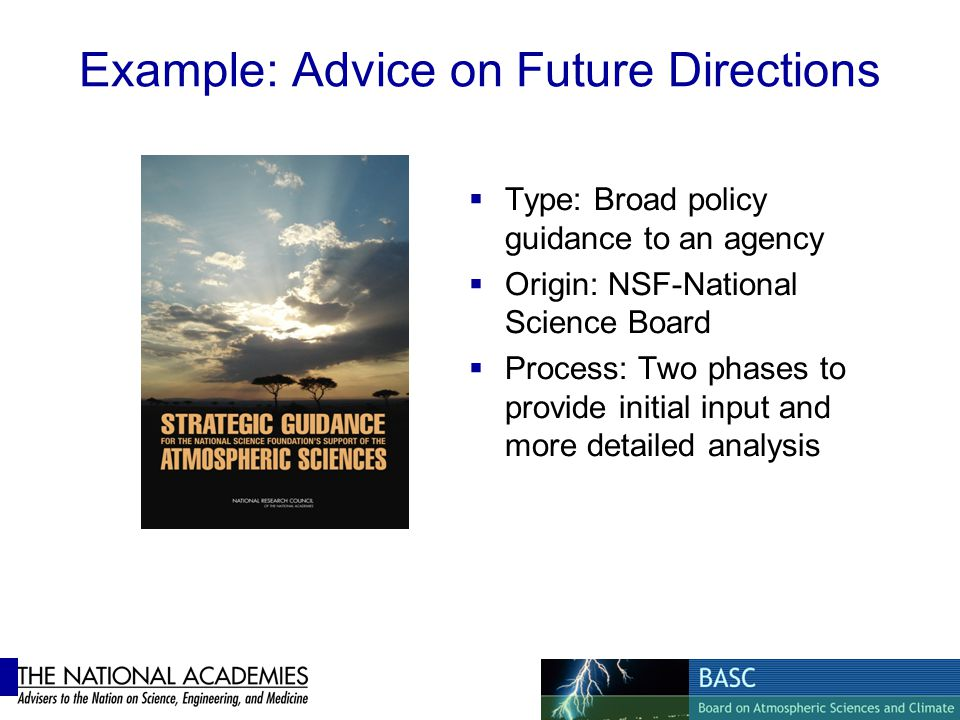 Example: Advice on Future Directions