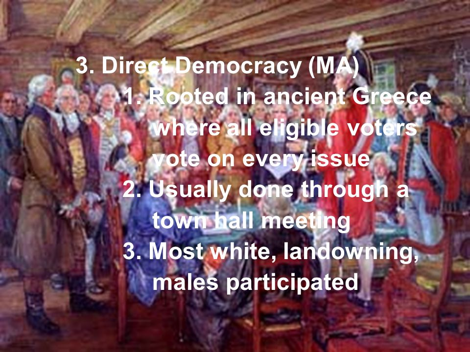 3. Direct Democracy (MA) 1. Rooted in ancient Greece. where all eligible voters. vote on every issue.