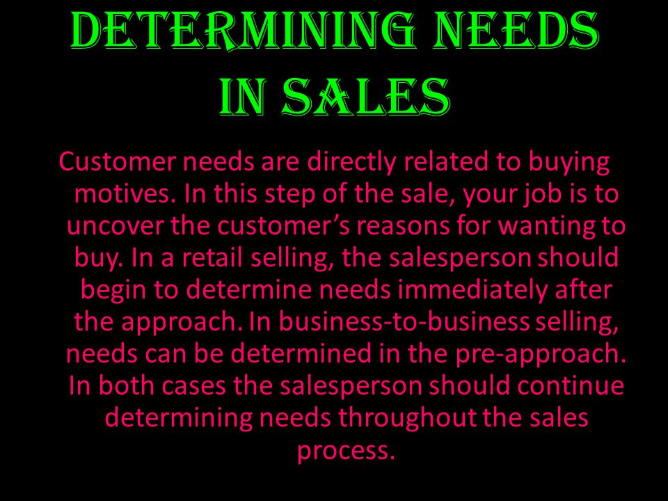 Determining Needs in Sales