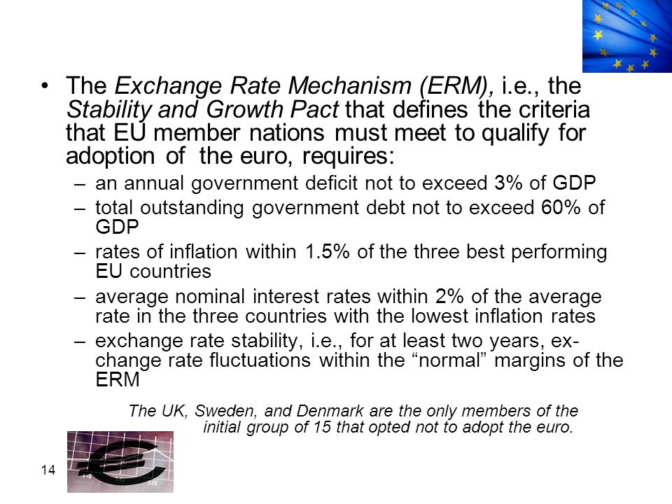 The Exchange Rate Mechanism (ERM), i. e