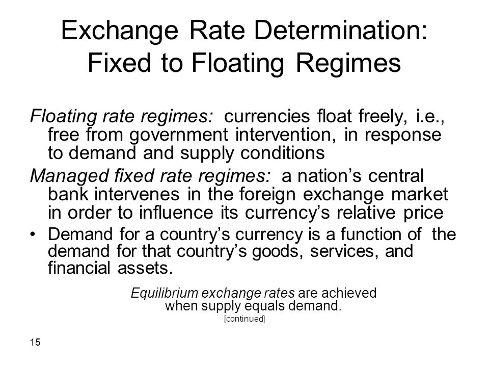 Exchange Rate Determination: Fixed to Floating Regimes