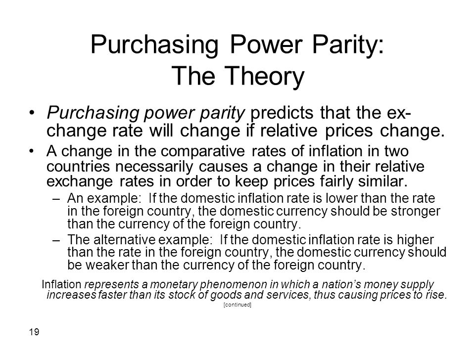Purchasing Power Parity: The Theory