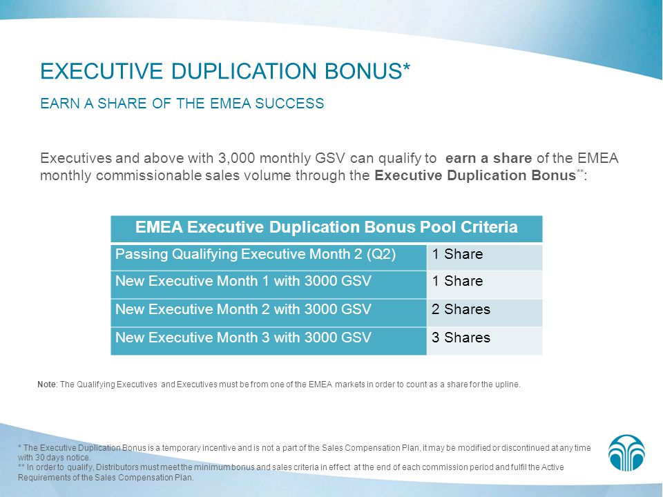 EMEA Executive Duplication Bonus Pool Criteria