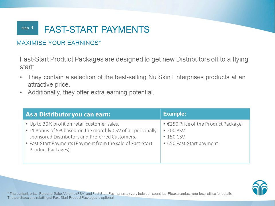 FAST-START PAYMENTS MAXIMISE YOUR EARNINGS*