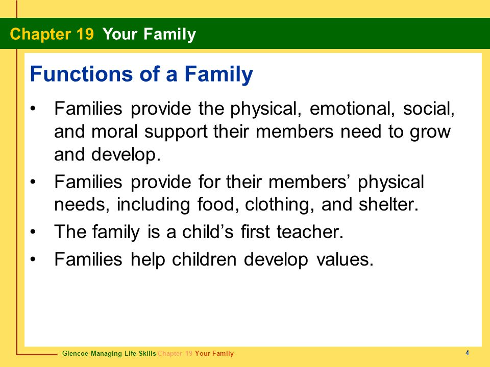 Functions of a Family Families provide the physical, emotional, social, and moral support their members need to grow and develop.