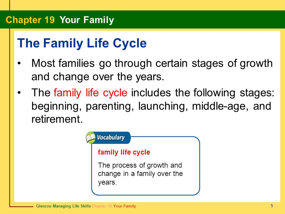 The Family Life Cycle Most families go through certain stages of growth and change over the years.