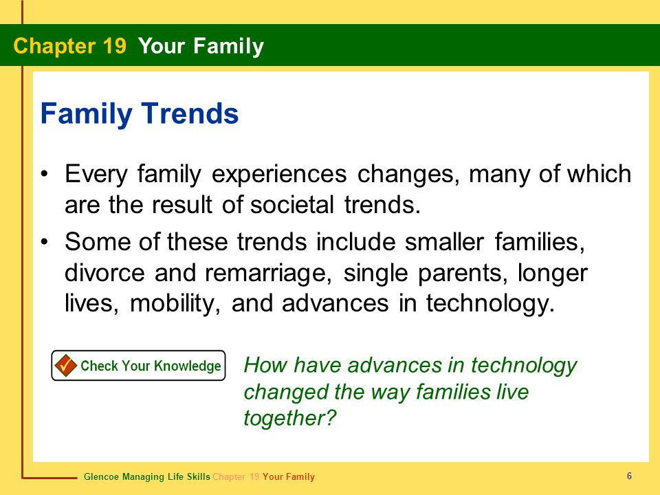 Family Trends Every family experiences changes, many of which are the result of societal trends.