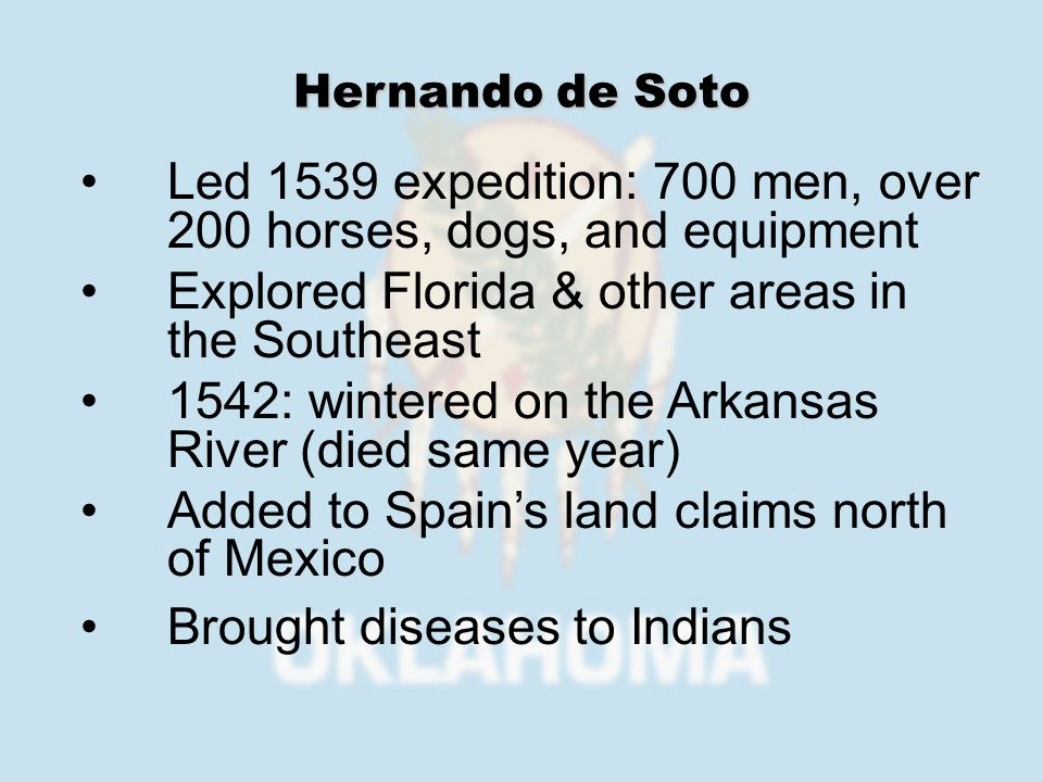 1595: charged with settling New Mexico – mainly to spread Catholicism