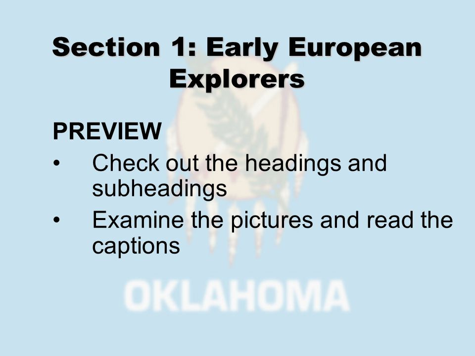 Section 1: Early European Explorers