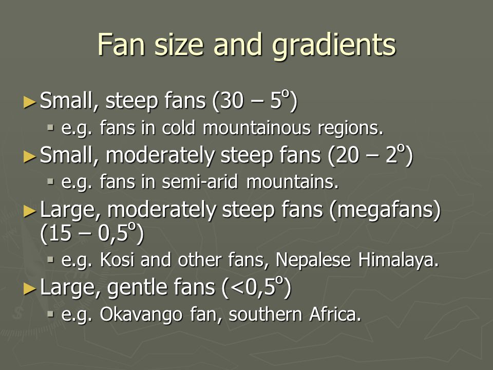 Fan size and gradients Small, steep fans (30 – 5o)