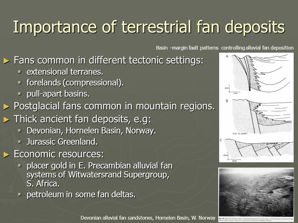 Importance of terrestrial fan deposits