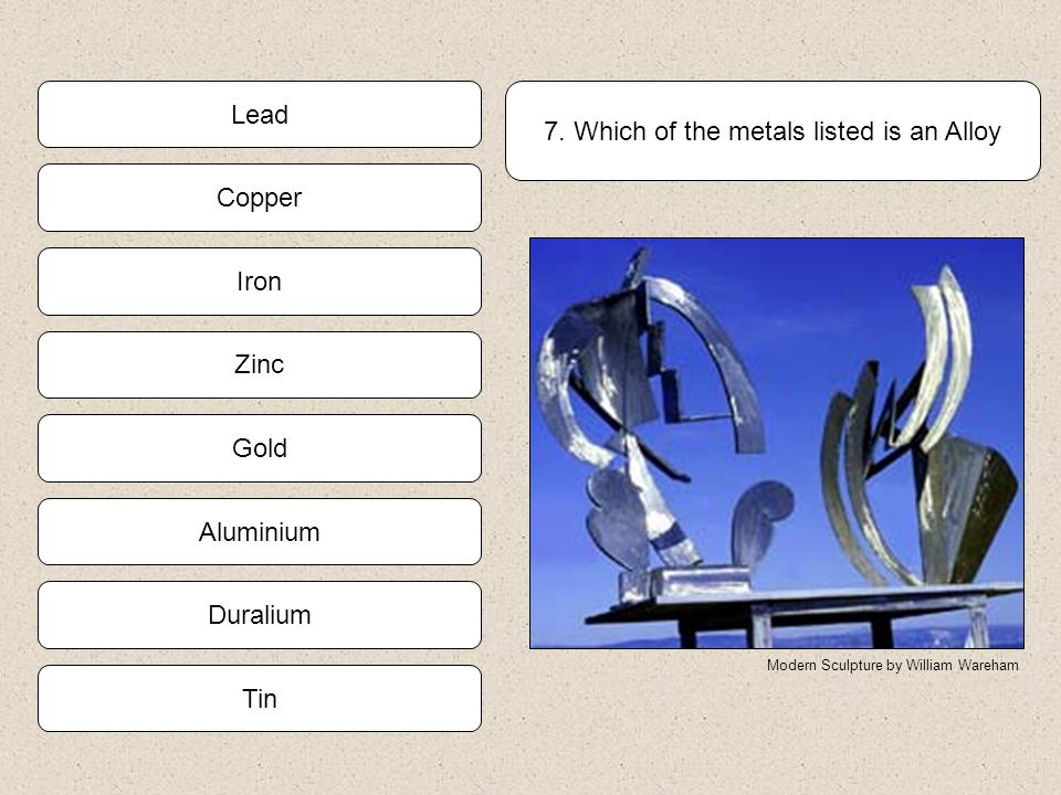 7. Which of the metals listed is an Alloy