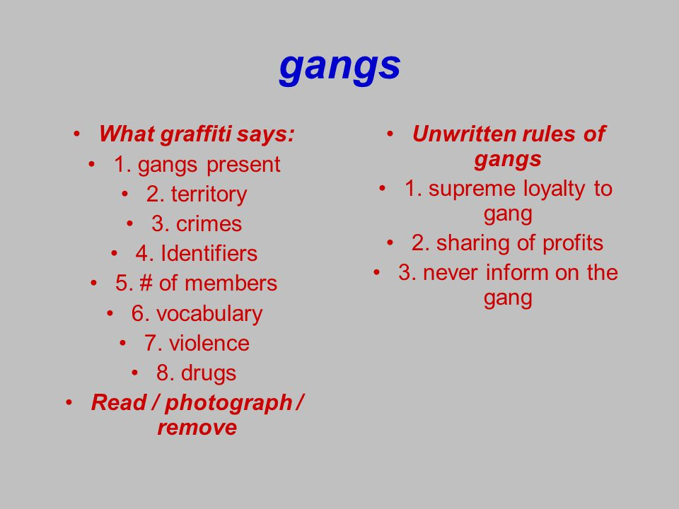 Read / photograph / remove Unwritten rules of gangs