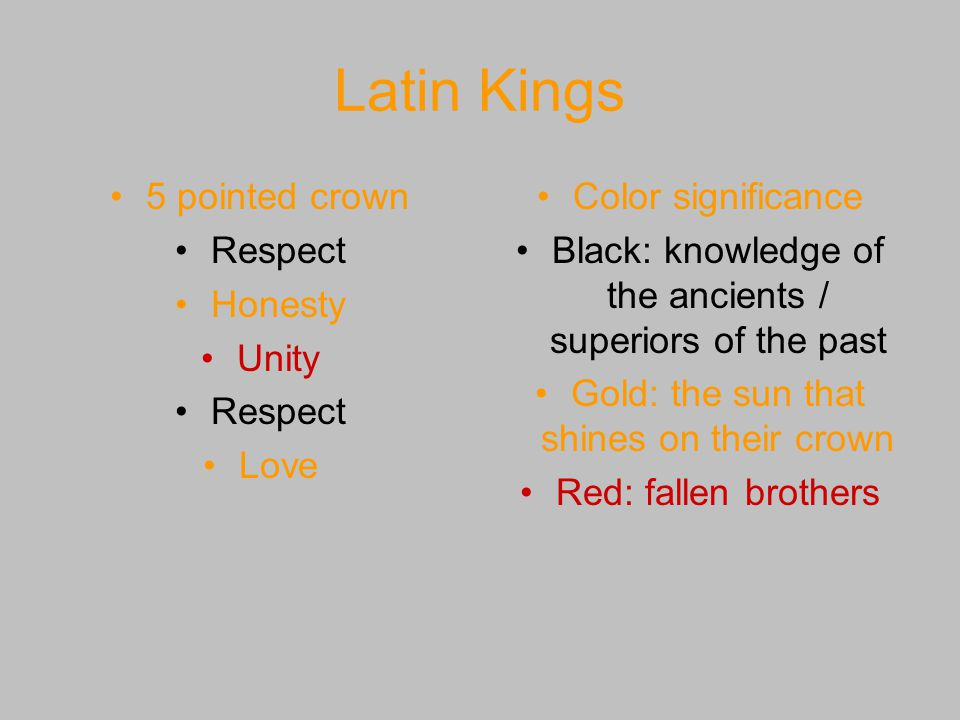 Latin Kings 5 pointed crown Respect Honesty Unity Love