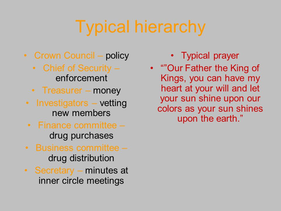 Typical hierarchy Crown Council – policy