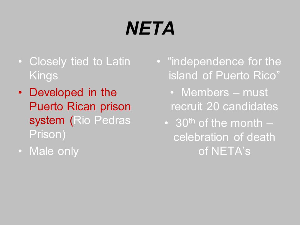 NETA Closely tied to Latin Kings