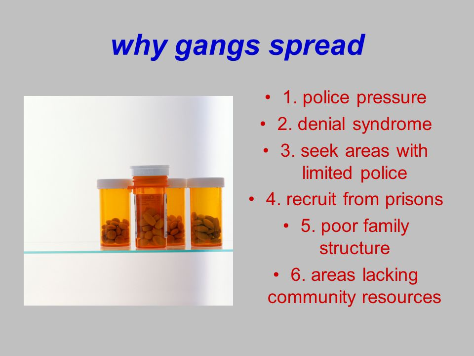 why gangs spread 1. police pressure 2. denial syndrome