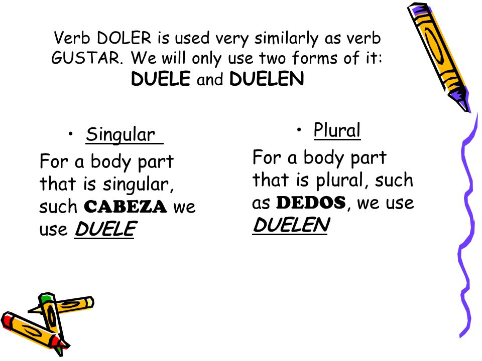 For a body part that is plural, such as DEDOS, we use DUELEN Singular