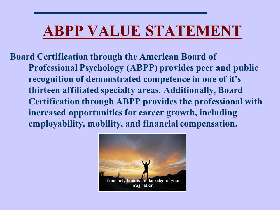 ABPP VALUE STATEMENT