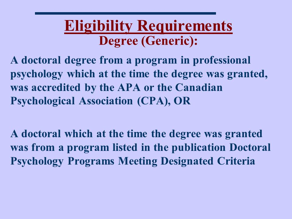 Eligibility Requirements Degree (Generic):