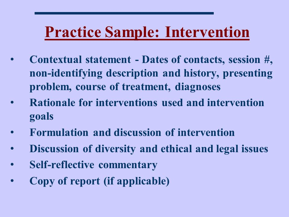 Practice Sample: Intervention