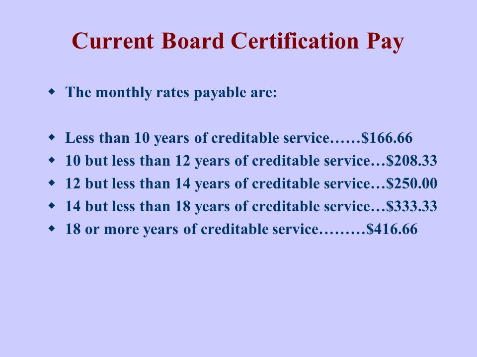 Current Board Certification Pay