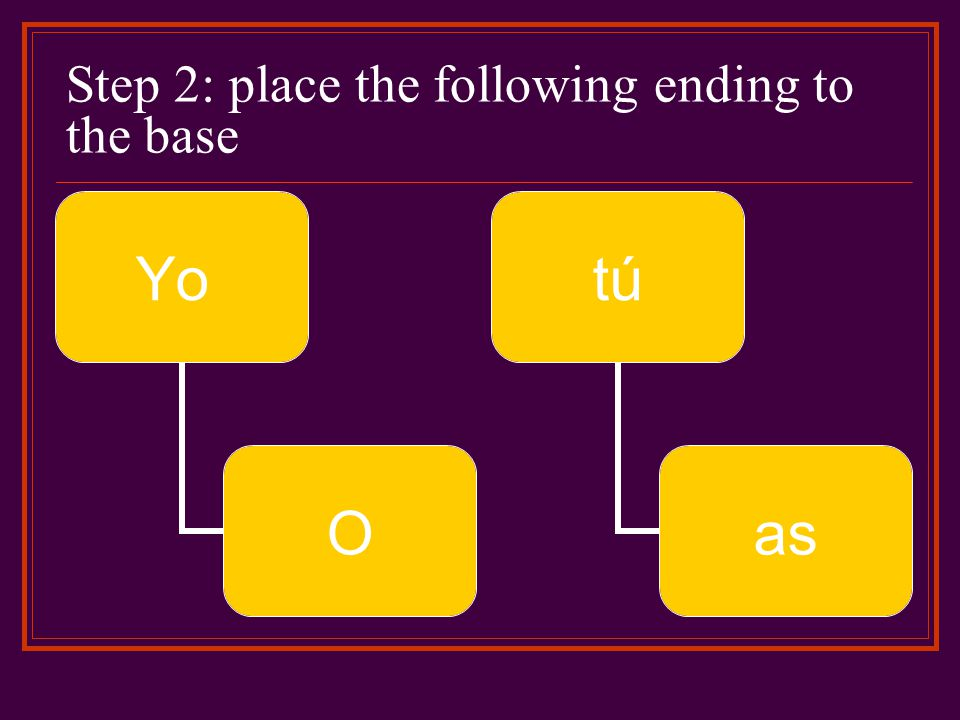 Step 2: place the following ending to the base