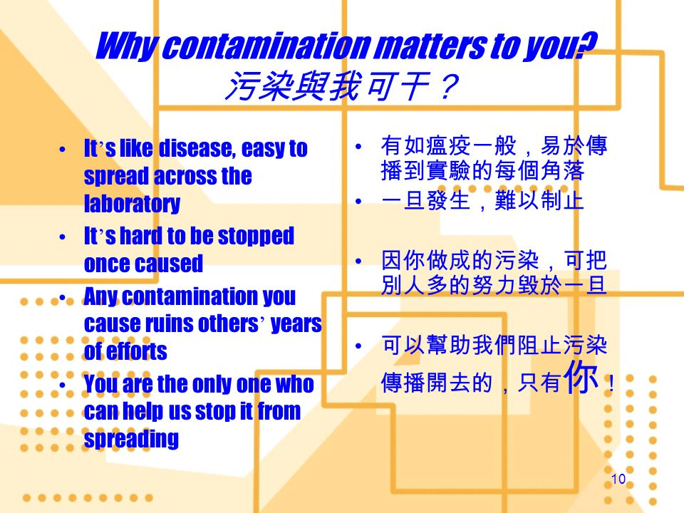 Why contamination matters to you 污染與我可干?