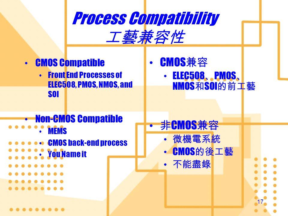 Process Compatibility 工藝兼容性