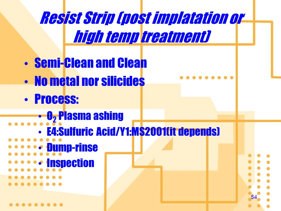 Resist Strip (post implatation or high temp treatment)