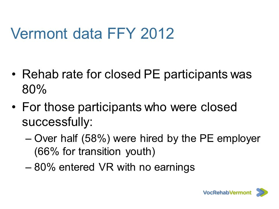 Vermont data FFY 2012 Rehab rate for closed PE participants was 80%