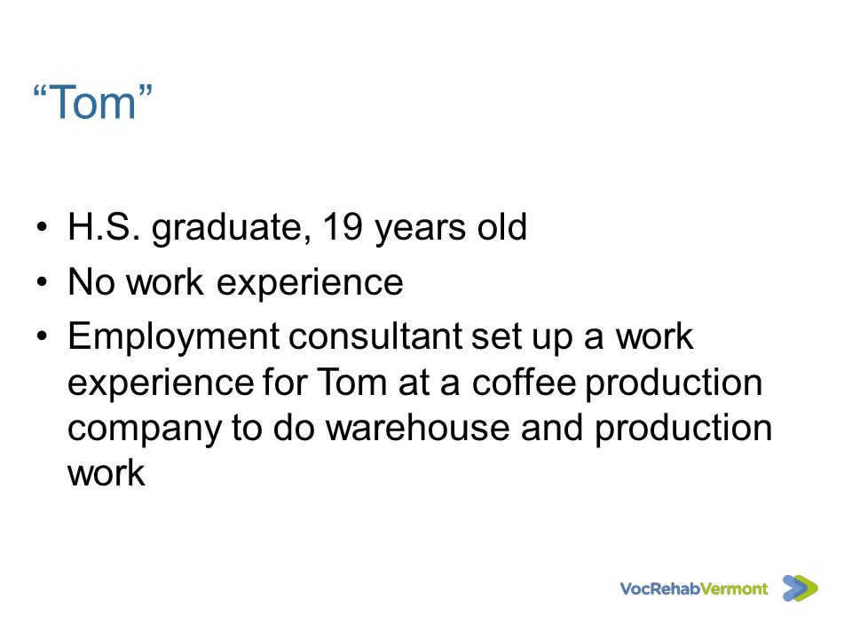 Tom H.S. graduate, 19 years old No work experience