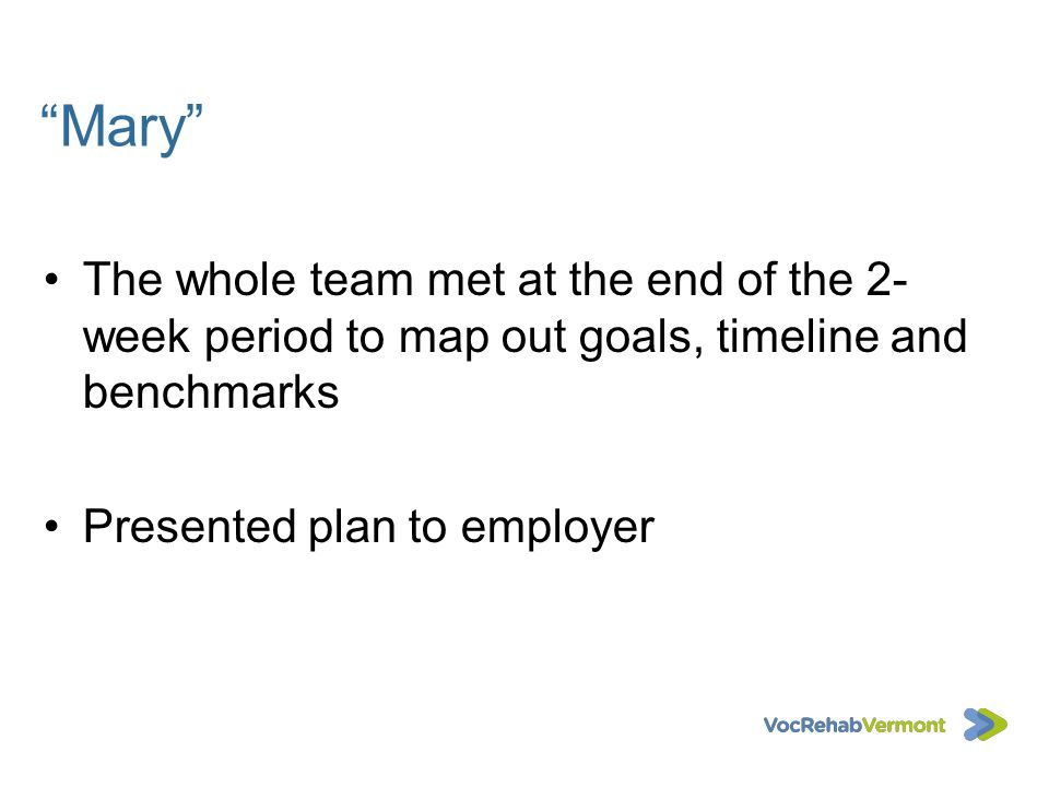 Mary The whole team met at the end of the 2-week period to map out goals, timeline and benchmarks.