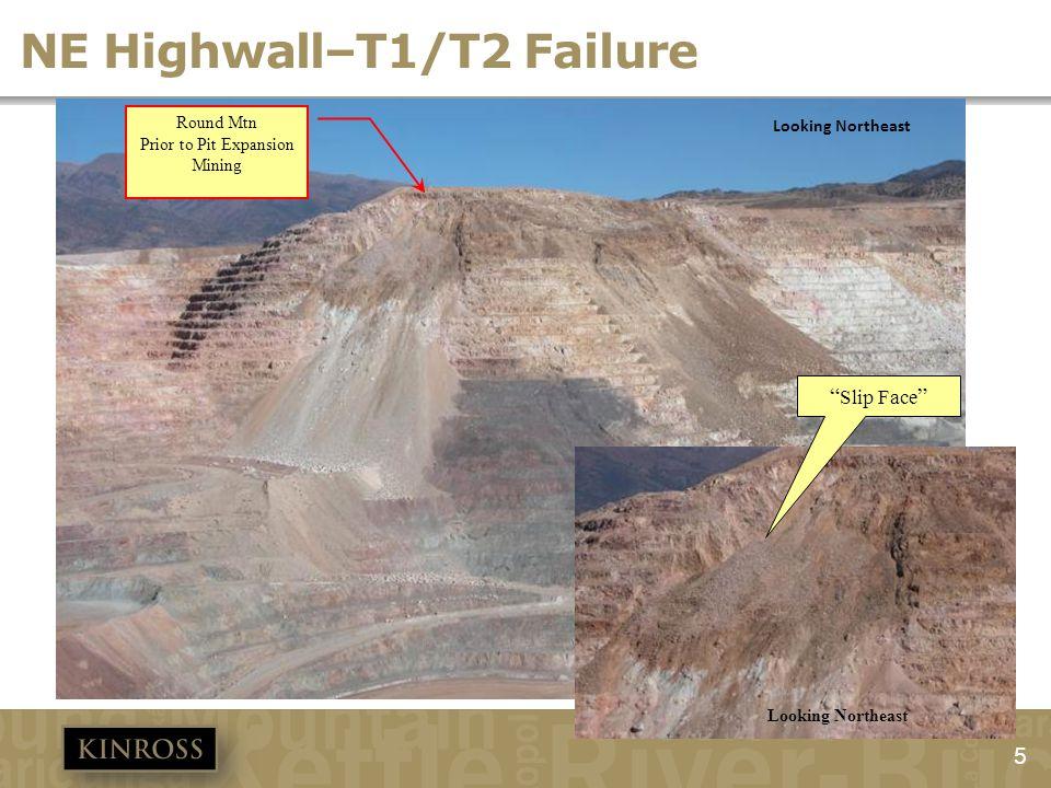 NE Highwall–T1/T2 Failure