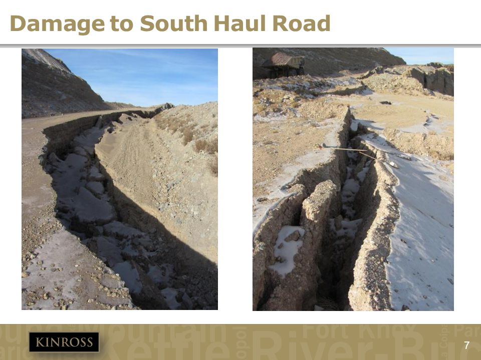 Damage to South Haul Road