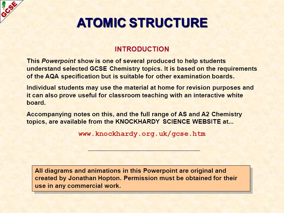 ATOMIC STRUCTURE INTRODUCTION www.knockhardy.org.uk/gcse.htm