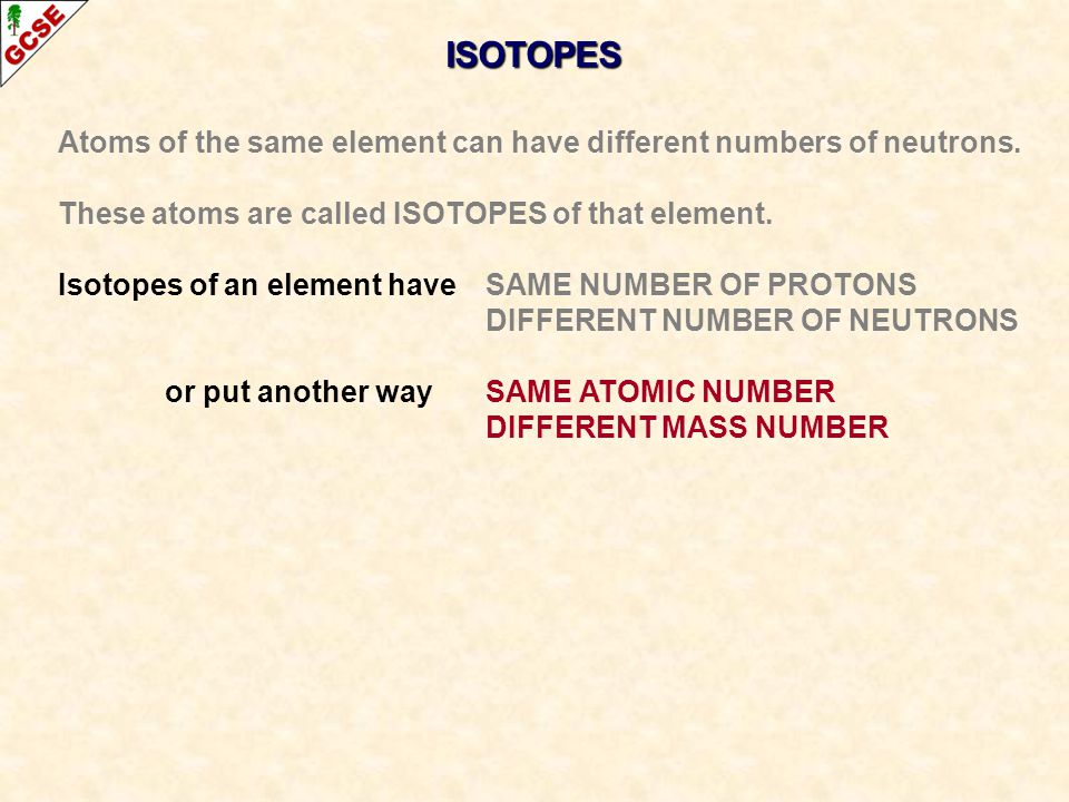 ISOTOPES Atoms of the same element can have different numbers of neutrons. These atoms are called ISOTOPES of that element.