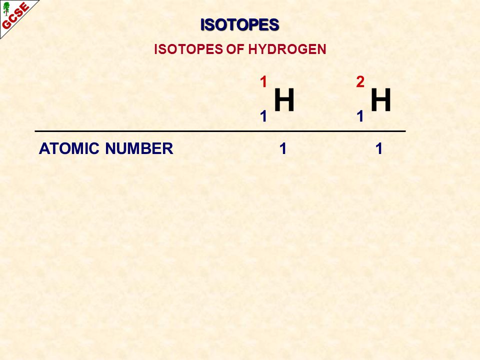 ISOTOPES ISOTOPES OF HYDROGEN 1 H 2 H 1 ATOMIC NUMBER 1 1