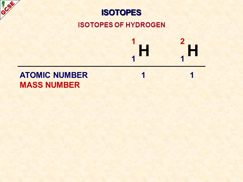 ISOTOPES ISOTOPES OF HYDROGEN 1 H 2 H 1 ATOMIC NUMBER 1 1 MASS NUMBER