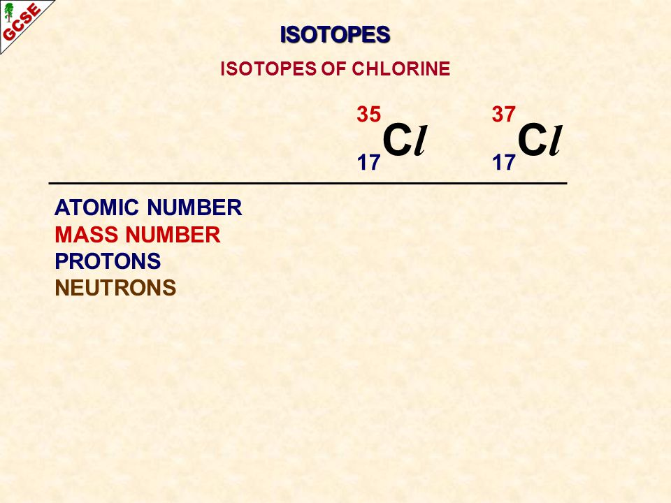 Cl Cl ISOTOPES 35 17 37 17 ATOMIC NUMBER MASS NUMBER PROTONS NEUTRONS