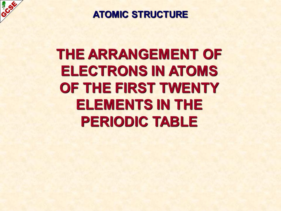 ATOMIC STRUCTURE THE ARRANGEMENT OF ELECTRONS IN ATOMS OF THE FIRST TWENTY ELEMENTS IN THE PERIODIC TABLE.