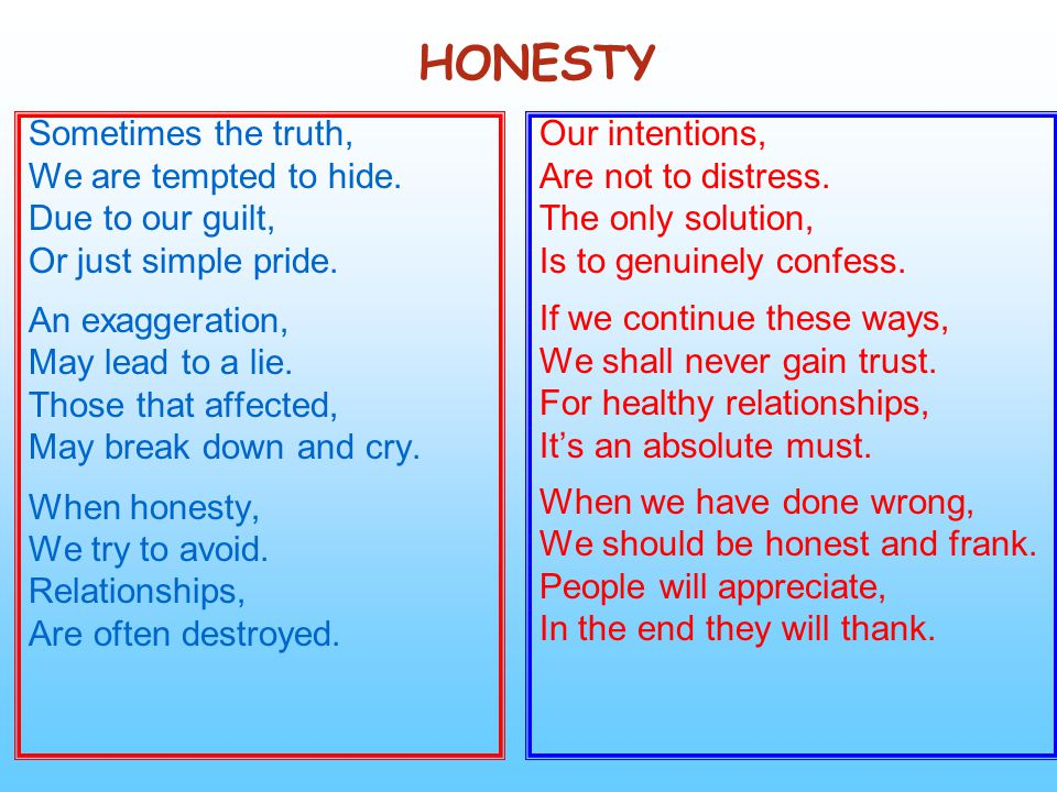 HONESTY Sometimes the truth, We are tempted to hide. Due to our guilt,